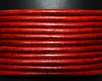 Moroccan Red - 1mm Leather Cord per yard