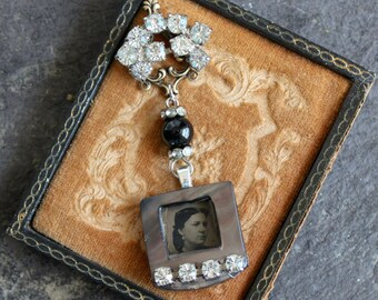"""Gem Tintype Necklace """"Lost in thought in 1870"""" Somebody's darling"""" memento mori steampunk gothic goth early photography assemblage pendant"""