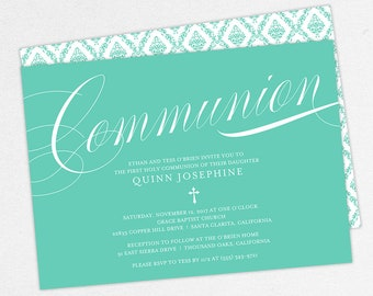 First Communion Invitation, First Holy Communion Invitation, Religious, Print, PDF, DIY Communion Invite, Damask, Calligraphy, Blue, Quinn