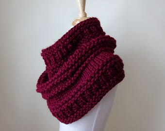 Knit Cowl, Chunky Acrylic Cowl, Infinity Scarf, Circle Scarf, Neck Warmer, Snood, Textured Cowl in Burgundy - Ready to Ship Gift for Her
