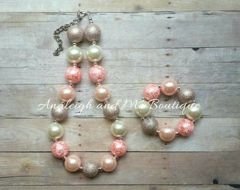 Blush Pink and Ivory Chunky Necklace, Pink and Ivory Chunky Necklace, Coral Chunky Necklace, Coral Baby Necklace, Pink and Ivory