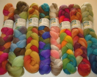 SAMPLE BOX SURPRISE Hand Painted Polwarth Wool Rovings