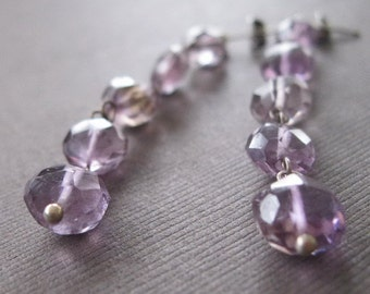 Rustic Amethyst Coin Long Dangle Drop Earrings Birthstone  - Sample Sale