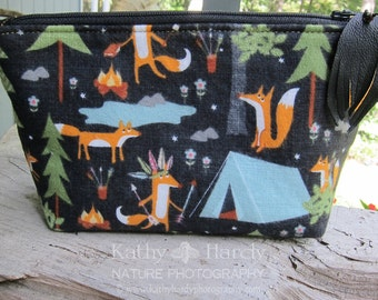 Zippered Pouch || Makeup Bag | Lined Zipper Bag | Outdoor Theme Fabric | Camping | Fox Fabric | Small Gift Under 20 | Camera Accessory Bag