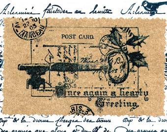 Printable Retro Christmas Postcard Greeting Card Christmas Vintage Post card Printable Digital File Instant Download Birthday Card Download