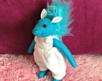 Felt Blue Squirrel Plushie in White Overalls