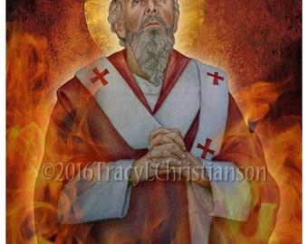 St.Polycarp, Catholic Art Print, Patronage, earaches, dysentery #4239
