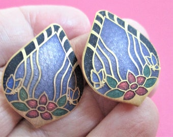 Vintage Cloisonne Earrings Lilac Clip On Earrings Leaf Shape Floral Earrings Frosted Lilac Enamel and Gold Jewelry Mother's Day Gift