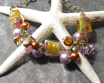 Fires of Autumn,  Lampwork bead, Chunky Charm Bracelet, Honey, Amber, Topaz, Lavender, crystal and pearl charm bracelet, created by Xanna