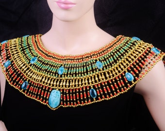 Huge Ancient Egyptian Beaded Cleopatra 14 Scarabs Necklace Collar
