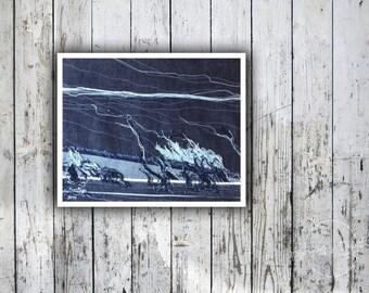 Abstract Textile Art - Sea landscape, Nautical Art, Minimalist Art, wall decor, contemporary art, wall hanging, modern interior