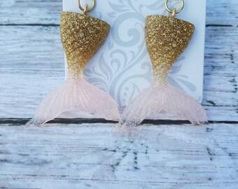 Resin mermaid tail earrings