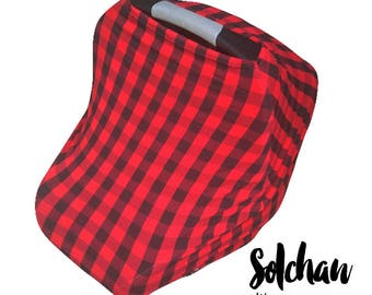Stretchy Car Seat Cover, nursing cover, stretchy carseat cover, carseat canopy, Multiuse Stretch Baby carseat, boy/red plaid buffalo canopy
