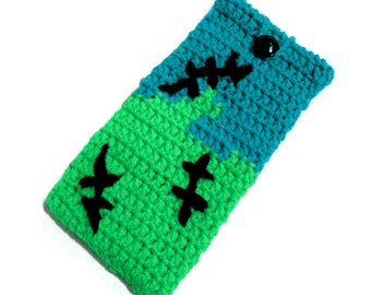 Frankenstein Phone Cozy, Halloween Phone Case, Neon Green Turquoise Cell Phone Cosy, Punk Device Case, Psychobilly iPhone Sock, Phone Pouch
