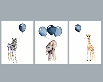 nursery wall art set of three navy nursery decor baby animal prints  baby boy wall decor children's art prints watercolor safari nursery
