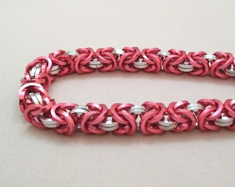 Handmade Chainmail Bracelet Square .048in Byzantine Dark Rose & Bright Silver Anodized Aluminum Maille Jewelry