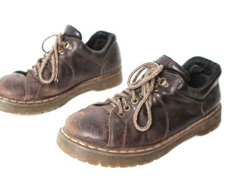 mens size 13 DOC MARTENS style brown leather 90s BROGUES chunky grunge shoes y2k specials