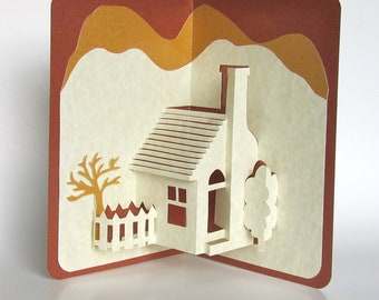 Home Pop-Up 3D Card Home Décor Origamic Architecture Handmade in Ivory and Earth Tones of Shimmery Brown and Mustard Sand OOAK