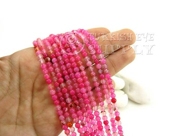 Multicolor Pink Agate Beads, 4mm Round Agate Bead Strands, One 1 Full Strand Semiprecious Gemstone Beads, Loose Beads