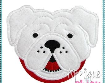 Personalized Football Bulldog Dog Face Applique Shirt or bodysuit