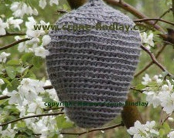 Crocheted Wasp Nest PDF Pattern to scare away wasps designed by Noreen Crone-Findlay (c)