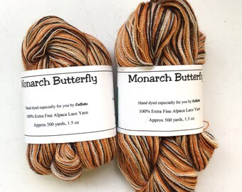 40% Off Extra Fine Alpaca Lace Yarn Lazy Perry Ranch 500 Yards Monarch Butterfly