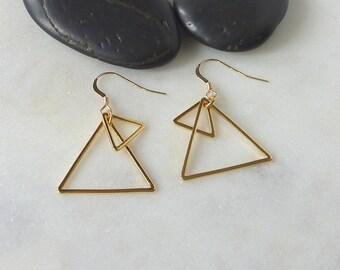 Hayden. Gold Triangle Hoop Earrings. modern earrings. dangle earrings. drop earrings. geometric earrings. triangle earrings.