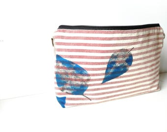Striped handbag,Summer striped pouch,stroped bag, Handprinted leaves ,  Striped pouch. stipes pouch, toiletry case