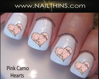 Pink Camo Hearts Nail Decal Camouflage Nail Design by NAILTHINS