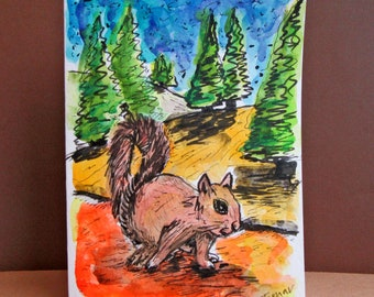Squirrel Card, Hand painted Cards, Original Watercolor, Handmade Card, Squirrel Painting, Northern White Cedar Trees, Nature Art, Sunny Day