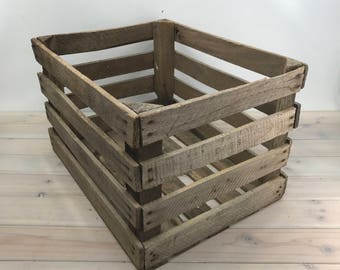 Wooden Fruit Crate Box, Rustic, Wood Fruit Crate