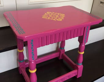 Bright handpainted upcycled vintage wooden side table