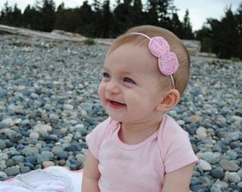 Pink Bow Headband, Baby Headband, Light Pink Headband, Chiffon Bow Headband, Infant Headband, Pink Headband, Light Pink HairBow