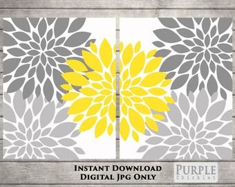 "Flower Bursts Blossoms Botanical Printable Art 2 - 8"" x 10"" Grey and Yellow Digital Fine Art Modern Wall Art Set Home Decor 109"