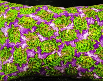 Small rectangular purple turtle pillow