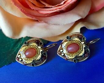 Vintage Michal Golan Heart Shaped Lever Back Earrings, Signed Michal Golan Lever Back Earrings, Vintage Michal Golan Earrings