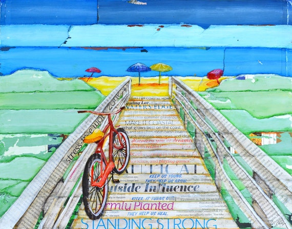 Ride to Tide ART PRINT or CANVAS bicycle bike biking cycling beach boardwalk poster wall home decor adventure painting gift,All Sizes