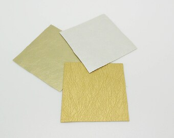 3 coupons leatherette, 3 colors silver, gold, bronze 5 x 5 cm