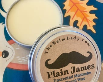 Unscented Mustache and Beard Wax  - Men's Grooming - Plain James - unscented all natural Grooming Wax, Pomade, Styling Wax, Hair Wax