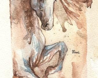 andalusian horse, equine art, horse portrait, original watercolour painting
