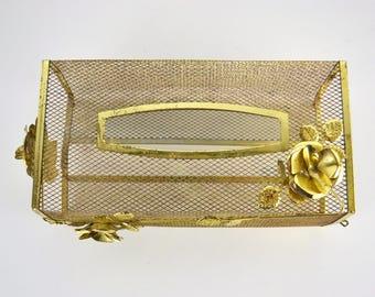 1960s Gold Tone Wire Mesh Tissue Box Holder, Hollywood Regency Retro, Bathroom Decor