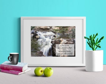 QUOTE PRINT DOWNLOAD | Gorgeous Rock Waterfall | Utah | Calm Peaceful Scenery | Mother's Day Gift | Wall Decor | 5x7 8x10 11x14 16x20 Pack