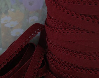 """5yds Elastic Burgundy Red Picot 3/8"""" with Decorative Edging for Headbands Sewing lingerie Single sided Edging bra strap"""