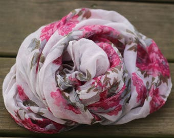 Ready to Ship, newborn baby photography prop, off white layer cloth with pink and gray flowers, prop posing fabric, little boy girl prop,
