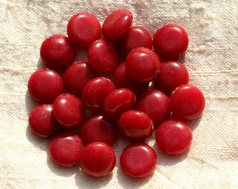 Wire 39cm env - stone beads - Jade beads 12 mm red 31pc