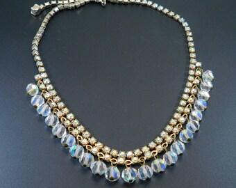 Rhinestone Fringe Necklace Vintage Jewelry