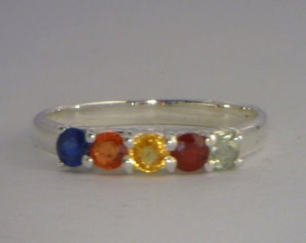 Rainbow Multi Color Party Sapphire Handmade Sterling Silver Ladies Ring size 7