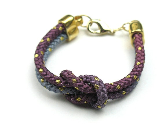 Friendship Rope Bracelet in Mauve Ombre with Knotted Mokuba Cord