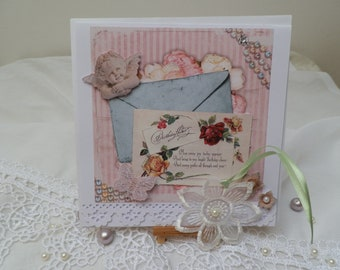 Romantic vintage 3D card and his little bookmark lace