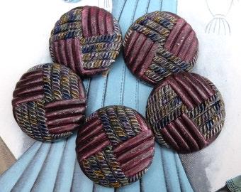 Antique Buttons Black Glass Imitation Fabric